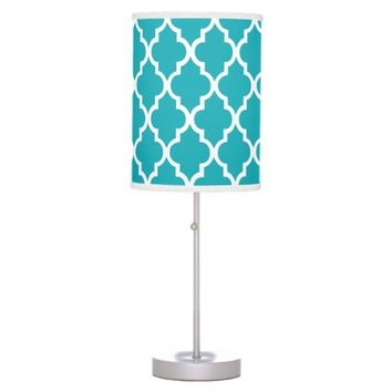 Peacock Teal Quatrefoil Pattern Table Lamps