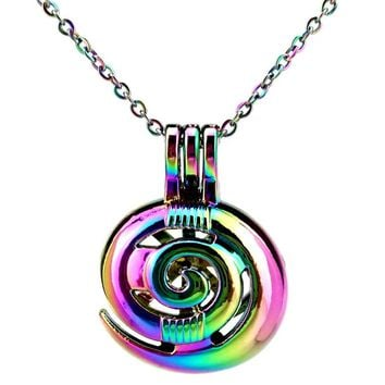C699 Rainbow Color Lovely Sea Snail Rotate  Beads Cage Pendant Locket Necklace Aroma Essential Oil Diffuser