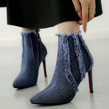 Denim Ankle Boots | High Heel Ankle Boots