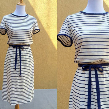 Vtg 70's terry cloth dress navy white striped tie belt included Short sleeve Medium Size 8 nautical