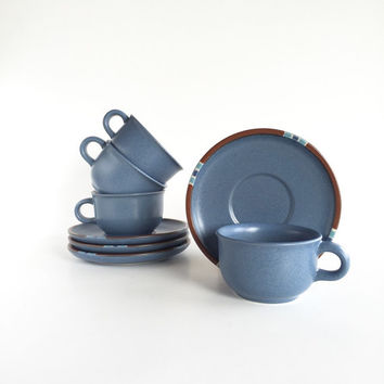 Set of Vintage Dansk Mesa Blue Flat Cup and Saucer
