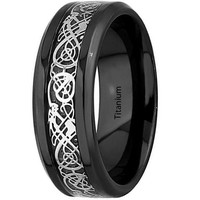 8mm Black Titanium Silver Dragon Celtic Pattern Beveled Edges Rings Silver Carbon Fibre