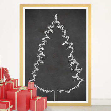 "Christmas tree alternative, chalkboard Christmas tree print, large printable poster, 20x30"" printable, diy christmas tree pinboard - cta005"