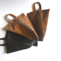 ON SALE 30 % OFF - Leather zipper pouch - black