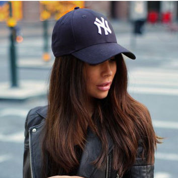 """Unisex Clean Up Adjustable Baseball Cap """"NY"""" Navy blue white letters"""