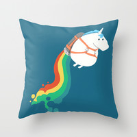 Fat Unicorn on Rainbow Jetpack Throw Pillow by Budi Satria Kwan
