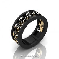 Mens Modern 14K Black and Yellow Gold Black Diamond Skull Channel Cluster Wedding Ring R913-14KBYGBD