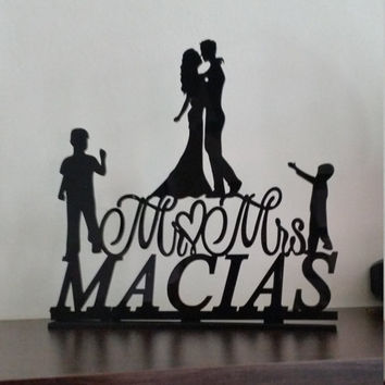 Rustic Wedding Cake Topper,family Wedding Cake Topper,Personalized Custom Wedding Cake Topper,Unique wedding cake topper,initial cake topper