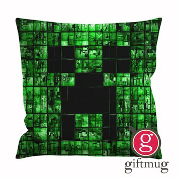 Minecraft Creeper Face Cushion Case / Pillow Case