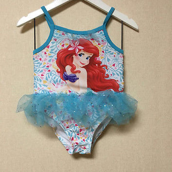 Sequin Girls Kids Mermaid Swimable Bikini Swimsuit Swimwear Swimming Costume 2-8
