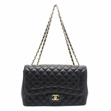 Chanel Quilted Calfskin Classic Flap Jumbo Silver Metal Flap Bag Black