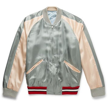 Gucci - Reversible Embroidered Satin Bomber Jacket
