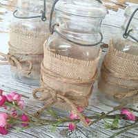Rustic Wedding Decorations For 15 Jars, Rustic Centerpiece, Burlap Mason Jar Centerpiece,  DIY Wedding Decor, Country Wedding Decorations