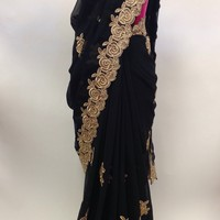 Party Wear Georgette Cutwork Saree