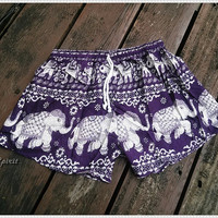 Purple Elephant Shorts Hippie Hipster Clothing Aztec Ethnic Bohemian Ikat Tank Handmade Unique Bikini Sleepwear Nightwear Sexy Cute Girls
