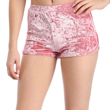 Devlyn Crushed Velvet High Waist Hot Shorts