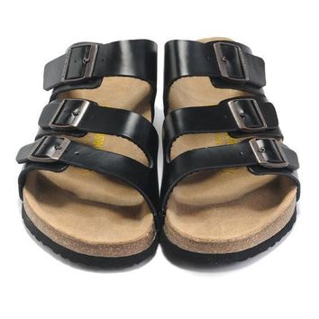 Birkenstock Leather Cork Flats Shoes Women Men Casual Sandals Shoes Soft Footbed Slippers-179