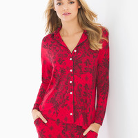Soma Cool Nights Long Sleeve Notch Collar Pajama Top Fine Lace Festive Red