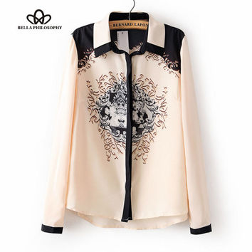 Ladies Vintage Totem Print Blouse Turn-down Collar Long Sleeve Shirt Casual Slim Brand Designer Tops Free Shipping pink color