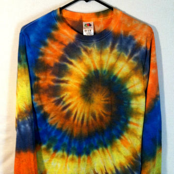 Tie Dye Shirt - Long Sleeve - Autumn Spiral - 100% Cotton