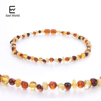 EAST WORLD Multicolor Amber Necklace for Baby Women Baltic Polished Amber Natural Beads Jewelry Collar Suppliers for Amazon Etsy