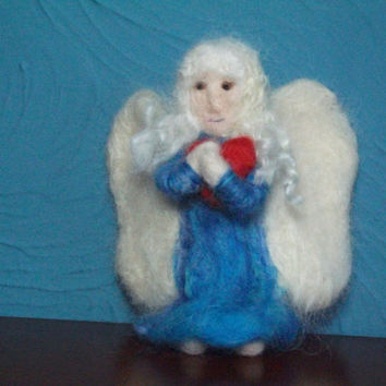 Needle Felted Angel Sculpture, Serenity. Guardian Angel. Poseable Soft Sculpture,Collectable,Gift, Ornament,