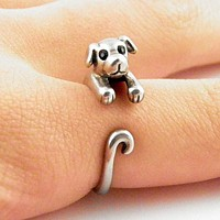 Animal Wrap Ring - Puppy - White Bronze - Adjustable Ring - keja jewelry