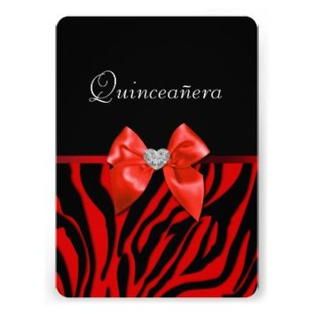 Red & Black Animal Print Quinceanera, Invitation