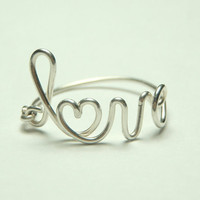 cute sterling silver 925 love wire heart  script word by keoops8