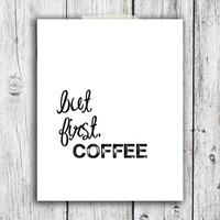 But First, Coffee Digital Download - Art - Canvas - Poster - Print - Home decor - Typography - wall art - framed art - black and white