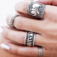 4 Piece Bohemian Ring Set