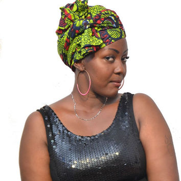Green African Print Headwrap