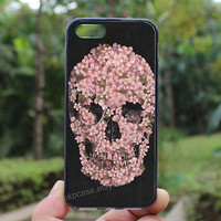 Skull case,flowers skull case,iphone 4 case,iPhone4s case, iphone 5 case,iphone 5c case,Gift,Personalized,water proof
