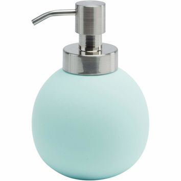Cleo Compact Round Bath or Kitchen Pump Liquid Soap Lotion Dispenser, Ceramic