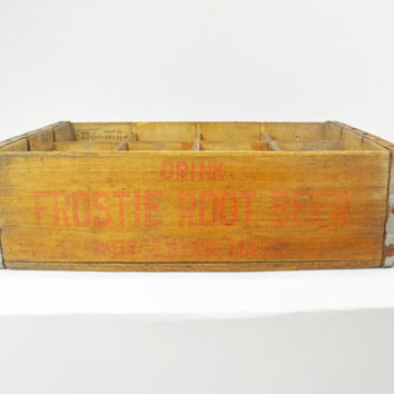 Vintage Soda Crate, Root Beer Crate, 1966 Frostie's Root Beer Carton, Wooden Crate