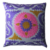 INDIAN HANDMADE DESIGNER CUSHION COVER SUZANI EMBROIDERED HANDWORK PILLOW COVER on RoyalFurnish.com