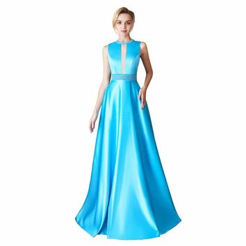 Long Dresses Beaded Sleeveless Open back Satin Formal Evening Dress Party Gown