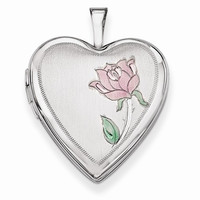 14k White Gold 20MM Enamel Rose Heart Locket