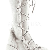 White Suede Demonia Go Go Furry Rave Boots