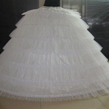 6 Hoops 6 Tieres Tulle White Super Puffy Big Long Petticoats Ball Gown Wedding Dresses Crinoline Adult Women Underskirt 120cm