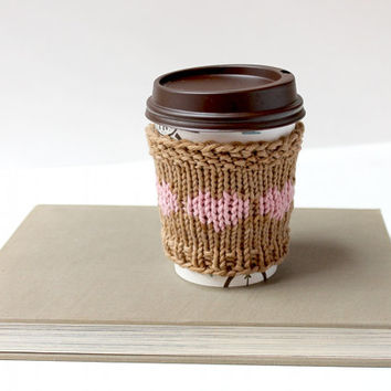 Vegan Coffee Sleeve, Organic Cup Cozy, Cotton Coffee Cozy, Spring Cup Sleeve, Gift For Her, Gift For Spring, Gift For Mom, Cozy Pink Hearts