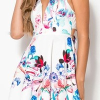 Sunday Stroll White Blue Pink Black Green Floral Sleeveless Plunge V Neck Cut Out Bow Back Skater Circle A Line Flare Mini Dress