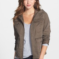 Petite Women's Caslon Hooded Twill Jacket