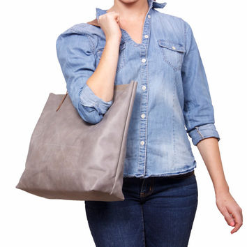 Large grey leather bag by Leah Lerner
