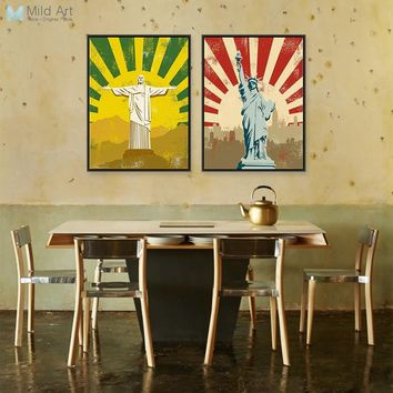 Jesus Christ Statue Liberty Modern Vintage Retro Hippie Hipster A4 Posters Prints Hotel Bar Canvas Painting Wall Art Decor Gifts