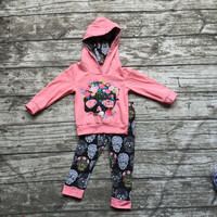 Fall clothes kids long sleeve outfits baby girls hoodie clothing damask skull outfits floral clothing children boutique sets