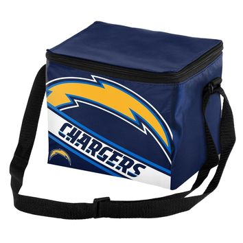 NFL Los Angeles Chargers Big Logo Striped 6 pack Cooler Lunch Box Bag Insulated