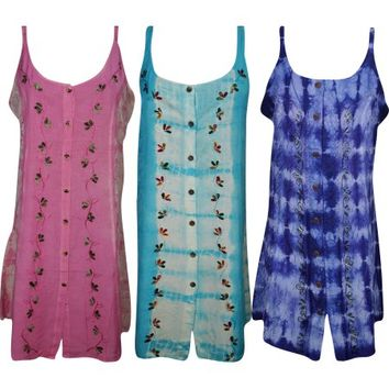 Mogul Womens Tie Dye Floral Embroidered Bohemian Fashion Gypsy Hippie Chic Summer Shift Dress - Walmart.com