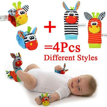 4Pcs Newborn Plush Socks Baby Toy Socks Animal Cute Cartoon Baby Rattles