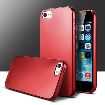 Red and Black TPU Silicone mobile phone case bumper on for iPhone 5 5s shell cover Anti-Knock soft Skin for iPhone 5 5s SE case
